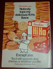 1972 SUNSHINE HIHO CRACKERS AD~TOP IT WITH SPREADS, DIPS, AND CHEESE~MR~SNACKS