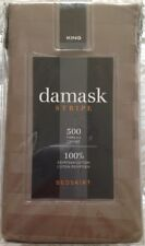 """Damask Stripe King Bedskirt w/ 15"""" Drop ~ New ~ 500 Thread Count Color-Canvas"""
