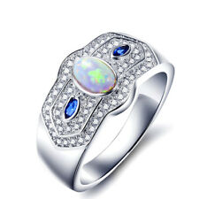 Platinum-Plated Lab-Opal & AAA+ CZ Ring