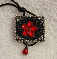 "Framed Scarlet Flower on Black Backing, with Bead Dangle on Leather Cord 22"" New"