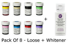 Wilton Icing Paste Food Colour Concentrated Gel Cake Pack Of 8 Loose + Whitener