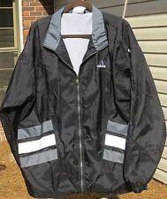 Adidas Men's Black Windbreaker Jacket with Gray & White Strips  Size XL