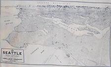 "Birdseye View Seattle Map Fabric Exclusive Kroll Map 1925 1 Map Panel 36"" x 22"""