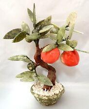 "Vintage Asian Jade Hardstone Bonsai Apple Tree In Jade Bowl Approx 11""H"