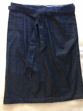 Laura Scott NWOT  Blue Denim  Knee Length Pockets Belt Tie Skirt Size 8