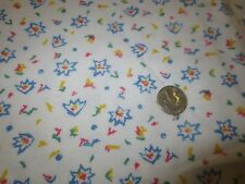 """1578. MULTI-COLOR PRINT ON WHITE Craft COTTON FLANNEL FABRIC - 43"""" x 2 5/8 Yds."""
