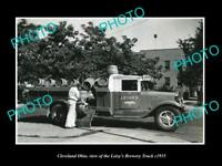 OLD LARGE HISTORIC PHOTO OF CLEVELAND OHIO, THE LEISY BREWERY BEER TRUCK c1935