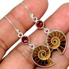 """""""Fossil"""" Ammonite - Madagascar & Garnet 925 Silver Earring Jewelry AE150843"""