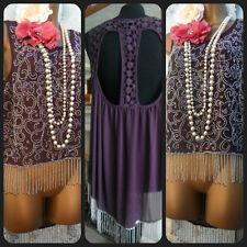 miss selfridge purple silver Tassel Lace Bead 20s Evening Gatsby top 14/16
