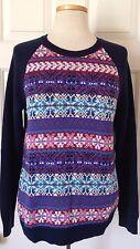 $59 NWT Womens Chaps by Ralph Lauren Fairisle Knit Sweater Multi-Color Navy M