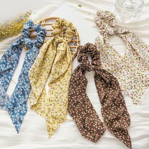 Women Bohemian Floral Tail Ribbon Hair Band Ponytail Scarf Elastic Scrunchies