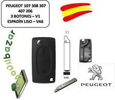 LLAVE CARCASA PEUGEOT 107 308 307 407 206 V1 VA6 3 BOTONES ESPADIN PLANO ESPAÑA