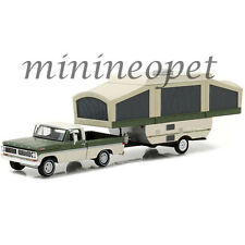 GREENLIGHT 32100 B HITCH & TOW 1970 FORD F-100 with POP-UP CAMPER 1/64 GREEN