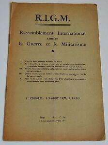 RASSEMBLEMENT INTERNATIONAL CONTRE LA GUERRE ET LE MILITARISME DE 1937 TBE