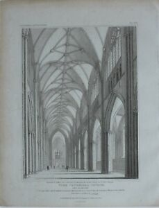 1819 ANTIQUE PRINT YORK CATHEDRAL CHURCH VIEW OF THE NAVE