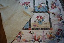 Large Hand Made Machine Applique  Quilt   93X106 Country Inn