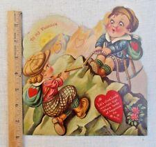 Antique Vintage Die Cut Mechanical Valentine Card Children Tug of War Germany