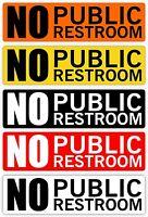 NO PUBLIC RESTROOM Vinyl Decal // Sticker Label // Cafe Sign Business Office Bar