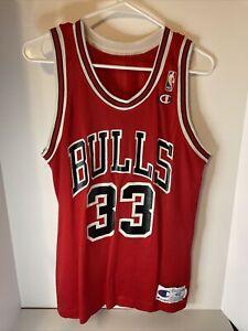 Vintage 90s Champion NBA Chicago Bulls #33 Scottie Pippen Jersey Size 40 Medium