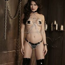 Sexy Chain suit Lingerie Set Body Harness clubwear lady gaga costume restraint