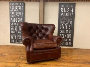 Restoration Hardware (RH) Churchill Leather Chair with Nailheads