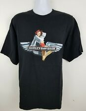 Harley Davidson Pin Up Girl Mendon Ohio Black Short Sleeve Men's Shirt Size XL