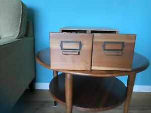 Antique Vintage Wood Library 2 drawer Card Catalog Cabinet Dividers Cards NEGA