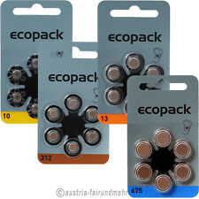 Hörgerätebatterie ecopack VARTA  alle Typen V10 - V13 - V312 - V675