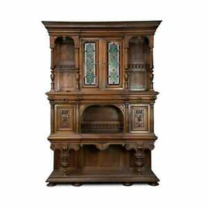 Antique Cabinet, Henry II Monumental Stacked Buffet Cabinet, Carved, 1800s!