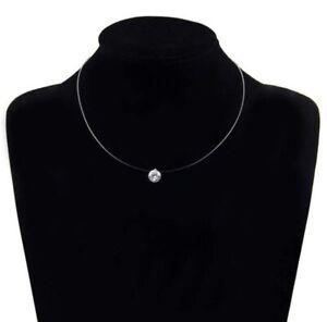 unsichtbare Nylon Kette Halskette schwebende Strassstein Crystal klar 8mm