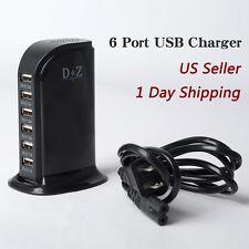 D&Z Multi 6 USB Port Charger Desktop Travel Rapid Charging Station Desktop BLACK