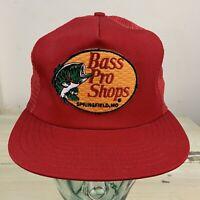 BASS PRO SHOPS - NWOT Vtg 90s USA Made Red Mesh SnapBack Trucker Fishing Hat Cap