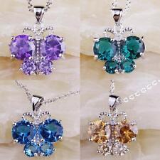 Amethyst & Morganite Blue & Green Topaz Gemstone Silver Chain Necklace Pendant