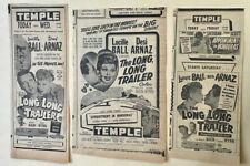 3 1954 newspaper movie ads for The Long Long Trailer - Lucille Ball, Desi Arnaz