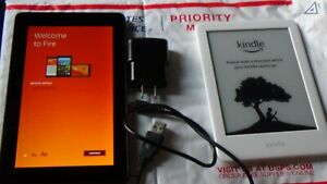 Amazon Kindle Now with Light & Kindle Fire 7 Lot of 2 , E-reader and HD Tablet