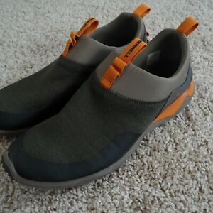 Merrell Range Mens 11.5 US - Dusty Olive w/ Orange Accents Pull on Sneakers Shoe