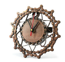 Metal clock modern bronze desk clock recycled Bicycle chain wall clock