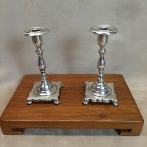 RARE Pair Late 19th C. Candlesticks Solid Cast .800+ Hanau(?) Silver 8.7 ozt