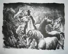 Gérard Cochet lithographie originale signée numérotée chevaux sauvages