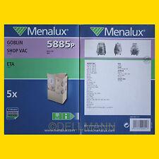 5 Staubsaugerbeutel Menalux 5885 für Shop VAC Super / Synchro 22 - Omega 100