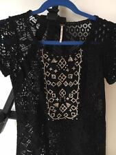 Free People Black Crochet Embroidery Lace Witch Assymetrical Shift Mini Dress