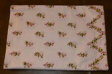 DDR Bettlaken Baumwolle weiß mit grünen Blumen um 1970 140 x 220 cm