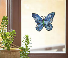 """CLR:WND - Butterfly D2 - Stained Glass Vinyl Window Decal ©YYDC (6.5""""w x 5.5""""h)"""