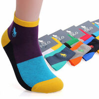 5 Pairs Men's polo sport Crew Quarter Combed Cotton Ankle Casual Socks Popular Q