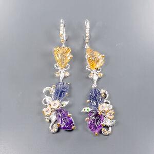 Handmade SET Citrine Earrings Silver 925 Sterling   /E57906