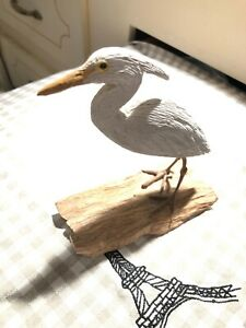 Signed  vintage  Wood Carving  Painted  Great White Heron  Shore Bird