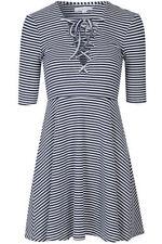 V Neck Skater Striped Regular Size Dresses for Women