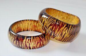 Two Vintage Glitter Inclusion Lucite Bangle Bracelets Tiger Stripes