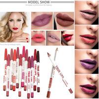 12Stück Lip Liner Rouge Stift Lippenstift Bleistift Set Langanhaltend Wasserfest