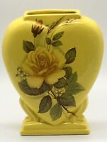 Vintage Yellow Heart Floral Rose Ceramic Vase
